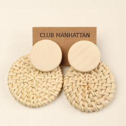 Club Manhattan Oorbel Double Disc Zandbruin