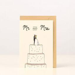 Kaart Blanche Wenskaart Mr & Mrs Wedding Cake Assortiment