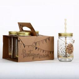 Helio Ferretti Gadget Set of 4 Mason Jars Party Geen kleur/Goud