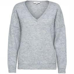 Selected Pull Sf Livana Ls Knit V Neck Noos Gris Clair Mélange