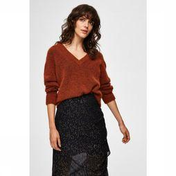 Selected Pull lanna Ls Knit V Neck Rouille