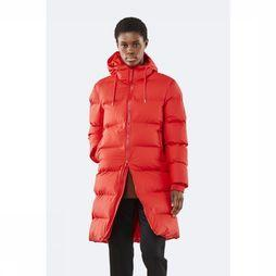 Rains Manteau Long Puffer Rouge