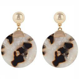 Club Manhattan Boucle D'Oreille Golden Turtle Shell Studs Or/Blanc Cassé