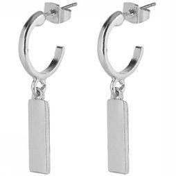 Club Manhattan Boucle D'Oreille Little Hoop Bar Argent
