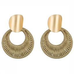 Club Manhattan Oorbel Woven Gold Hoops Goud/Middenbruin