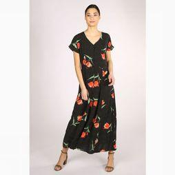 B.Young Robe Byhailey Long Noir/Assortiment Fleur
