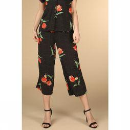 B.Young Pantalon Byhailey Cropped Noir/Assortiment Fleur