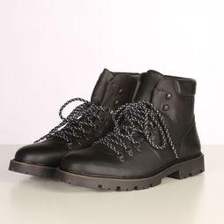 Selected Bottine iisaac Leather Hiking Noir
