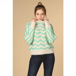 Selected Pull Maggy Sl Knit O Neck Blanc Cassé/Vert Moyen