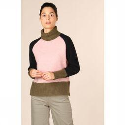 Selected Trui ronja Ls Knit High Neck Middenkaki/Lichtroze