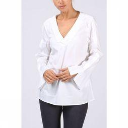 Yaya Blouse Woven Placket Sleeve Blanc