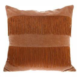 Coussin Velvet Fringe Peach Brown