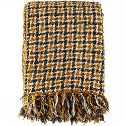 Madam Stoltz Plaid Checked Wool Throw Donkergeel/Donkergrijs
