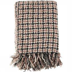 Madam Stoltz Plaid Checked Wool Throw Lichtgrijs/Lichtroze