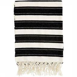 Madam Stoltz Handdoek Striped Throw With Fringes Gebroken Wit/Zwart