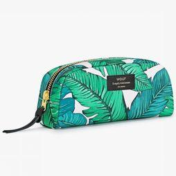 Wouf Textiel Accessoire Makeup Tas Tropical Small Wit/Middengroen