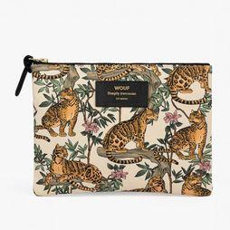 Wouf Textiel Accessoire Large Pouch Lazy Jungle Wit/Oranje