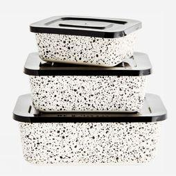 Ustensiles De Cuisine Rectangular Containers With Lid x3