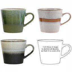 HK Living Keukengerei Tas Ceramic 70's Cappuccino Set of 4 Assortiment