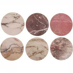 &KLEVERING Servies set of 6 marble cork coasters Assortiment