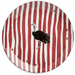 Anna+Nina Servies Ostrich Dinner Plate Donkerrood/Wit