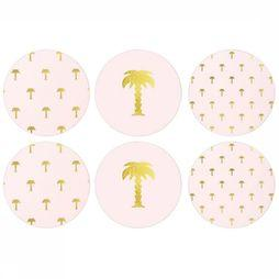 &KLEVERING Servies Set Of 6 Palm Tree Coasters Pink Middenroze