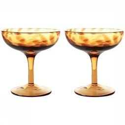 &KLEVERING Servies Champagne Coupe Tortoise Set of 2 Middenbruin/Middengeel