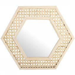 &KLEVERING Miroir Cannage Hexagon Brun Sable