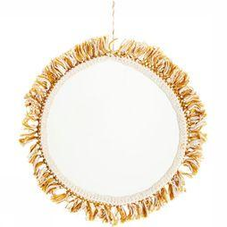 Madam Stoltz Miroir Hanging Mirror With Cotton Fringes Blanc Cassé/Jaune Moyen