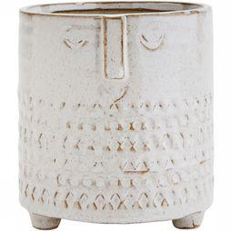 Madam Stoltz Cache-Pot With Face Imprint Blanc Cassé