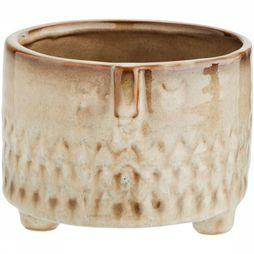 Madam Stoltz Cache-Pot With Face Imprint 12X9,5 Ecru