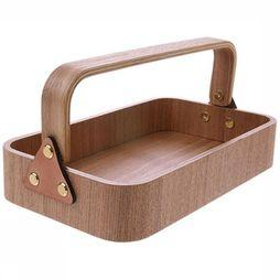 HK Living Kleine Opberger Willow Wooden Box 1 Handle Middenbruin