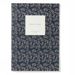 Kartotek Papeterie Medium Notebook Leaves Bleu Foncé/Assortiment Fleur