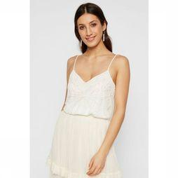 Yas Charlene Hand-Beaded Strap Top Blanc Cassé