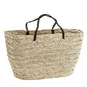 Straw Bag With Black Handles