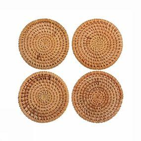 Servies Rattan Coaster set of 4