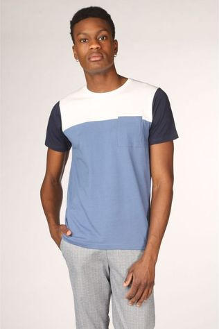 Bask in the Sun T-Shirt Teofilo Middenblauw/Wit