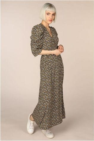 Co'Couture Robe Alina Flower Wrap Noir/Assortiment Fleur