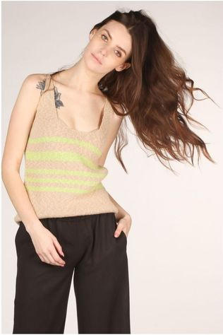 Nosho T-Shirt Top Lore Brun Sable/Citron vert