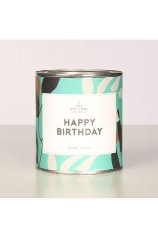 The Gift Label Kaars Big Candle Tin Happy Birthday Fresh Cotton Middenblauw/Wit