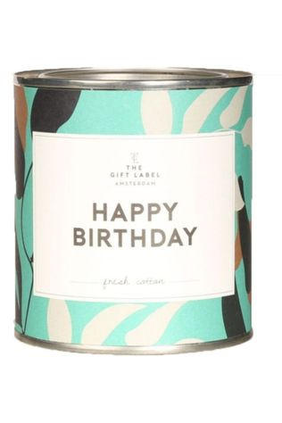 The Gift Label Bougie Big Candle Tin Happy Birthday Fresh Cotton Bleu Moyen/Blanc