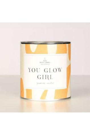 The Gift Label Kaars Big Cancle You Glow Girl Jasmine Vanile Donkergeel/Middengeel