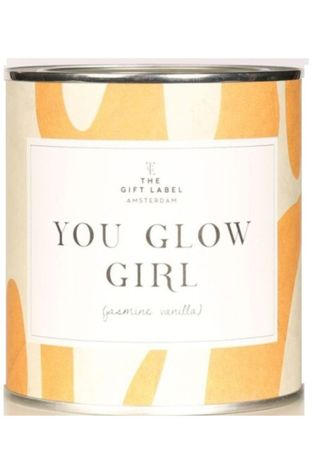 The Gift Label Bougie Big Candle You Glow Girl Jasmine Vanille Jaune Foncé/Jaune Moyen