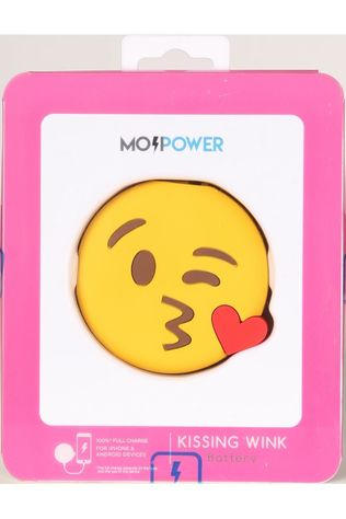 EMOJI Chargeur Kissing Wink External Battery 2600 Nh Jaune Moyen/Rouge Moyen