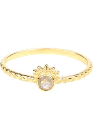 Muja Juma Ring E Dot With Crown Goud/Lichtgrijs