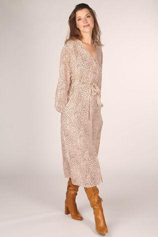 FRNCH Robe Acheley Ecru/Brun