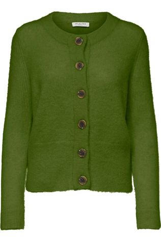 Selected Cardigan Sia Ls Knit Vert Moyen