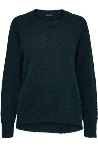 Selected Trui lulu Ls O Neck Nos Donkergroen