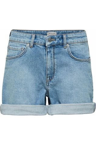 Selected Short Sel Slfsilla Mw Bayside Blue Fold Up Middenblauw