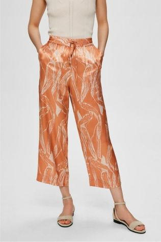 Selected Pantalon Slffranka Mw Cropped Rose Clair/Blanc Cassé